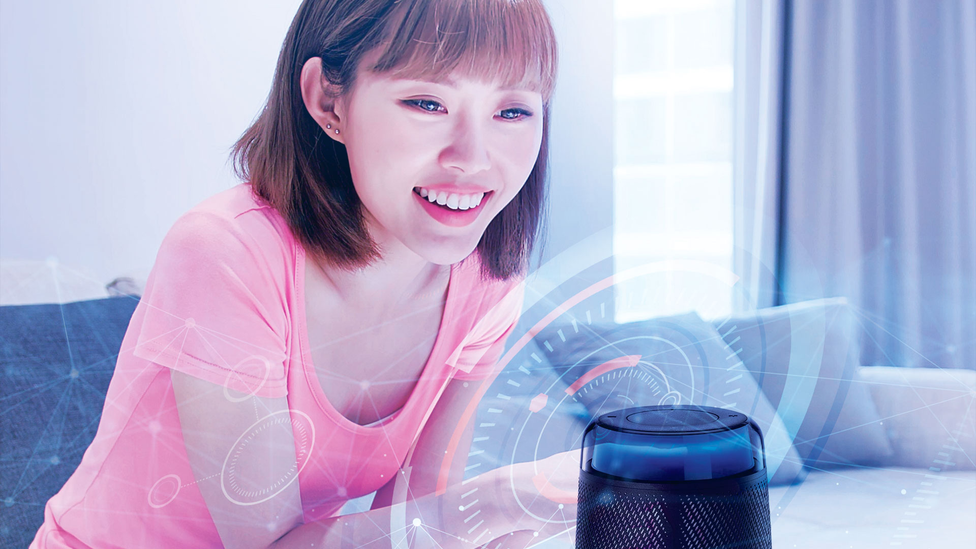 Rich User Experience - Lady talking to smart speaker